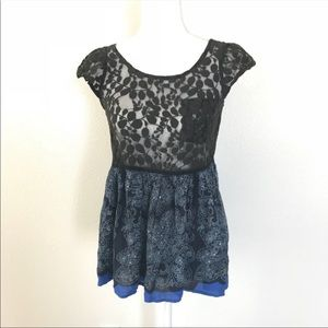 Free People Lace Top Size S Black Blue Floral